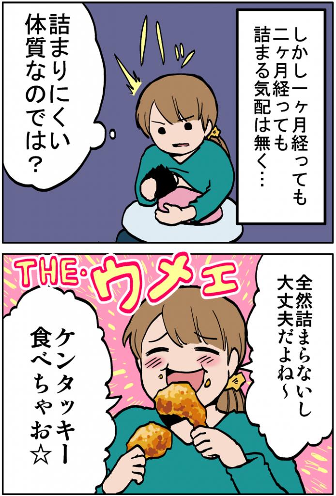 しかし、1-2か月経過したが乳腺炎の気配はなく、つい我慢できずにケンタッキーを食べてしまう。