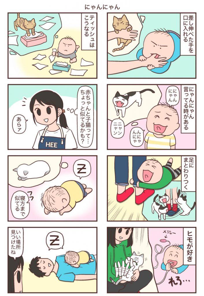 赤ちゃんと子猫が似ているところ