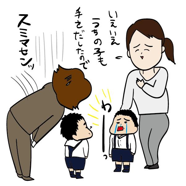 投げた子の親は相手の子の親に謝る