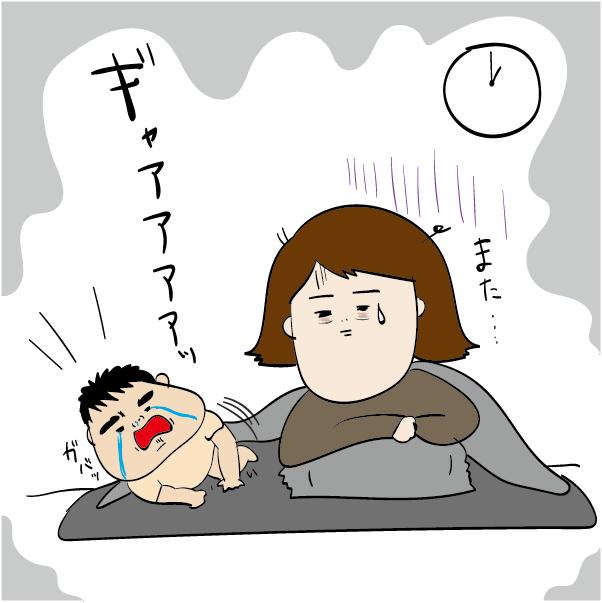 30分から 1時間おきに夜泣き で起きる新生児